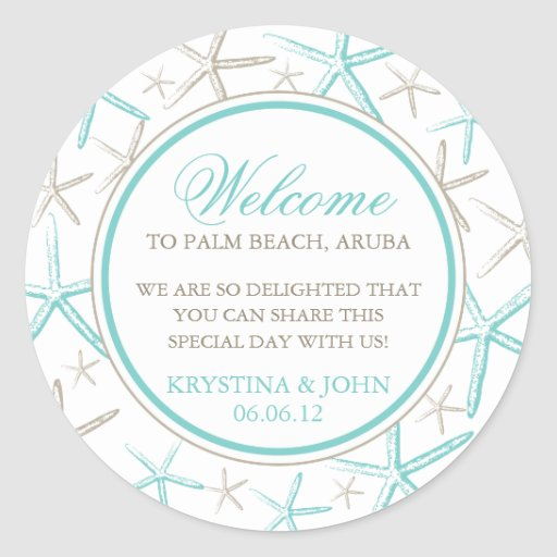 Skinny Finger Starfish Wedding Welcome Round Stickers