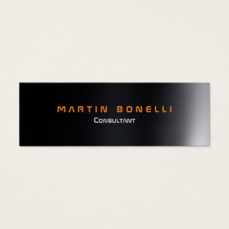 Skinny Futuristic Dark Grey Plain Mini Business Card