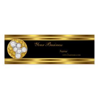 Skinny Gold Black Diamond Jewel Elegant Classy Mini Business Card