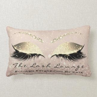 Skinny Gold Glitter Pink Makeup Eyes Lashes Beauty Lumbar Pillow