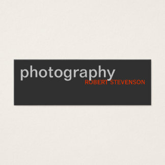 Skinny Grey White Photography Business Card