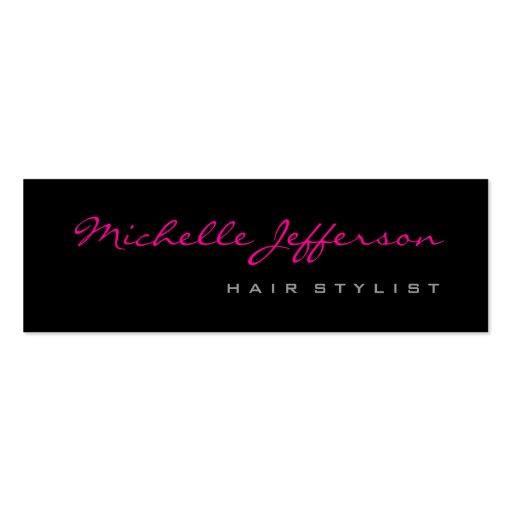 Skinny Hair Stylist Script Grey Pink Business Card