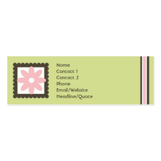 Skinny Mini Daisy Stripes Calling / Mommy Card Double-Sided Mini Business Cards (Pack Of 20)