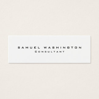 Skinny Minimalist Plain Simple Black & White Mini Business Card