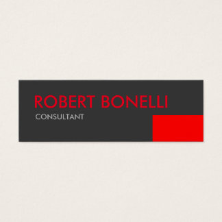 Skinny Modern Red Bold Text Grey Business Card