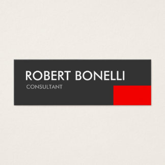 Skinny Modern White Bold Text Grey Business Card