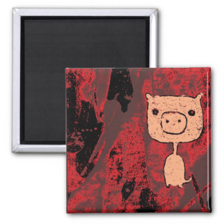 Skinny Piggy 2 Inch Square Magnet