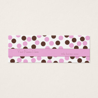 Skinny Pink and Brown Polka Dot Business Card