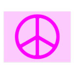 Skinny Pink Peace Sign Post Card