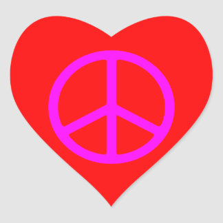 Skinny Pink Peace Symbol Heart Stickers
