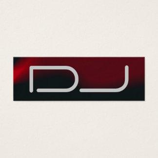 Skinny Plain DJ Stylish Black Red Waves Modern Mini Business Card