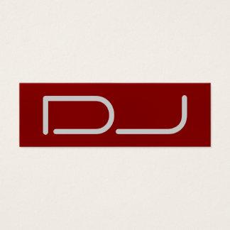 Skinny Plain DJ Stylish Red Background Modern Mini Business Card