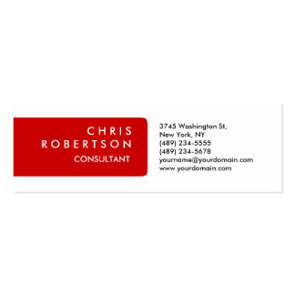 Skinny Plain Red White Attractive Business Card