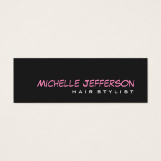 Skinny Professional Script Grey Pink Business Card