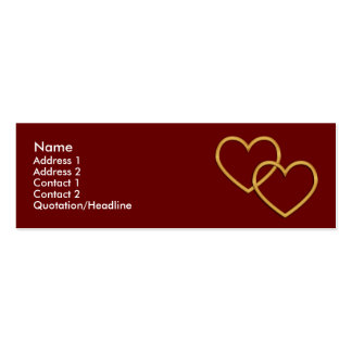 Skinny Profile Card Template - Two Gold Hearts