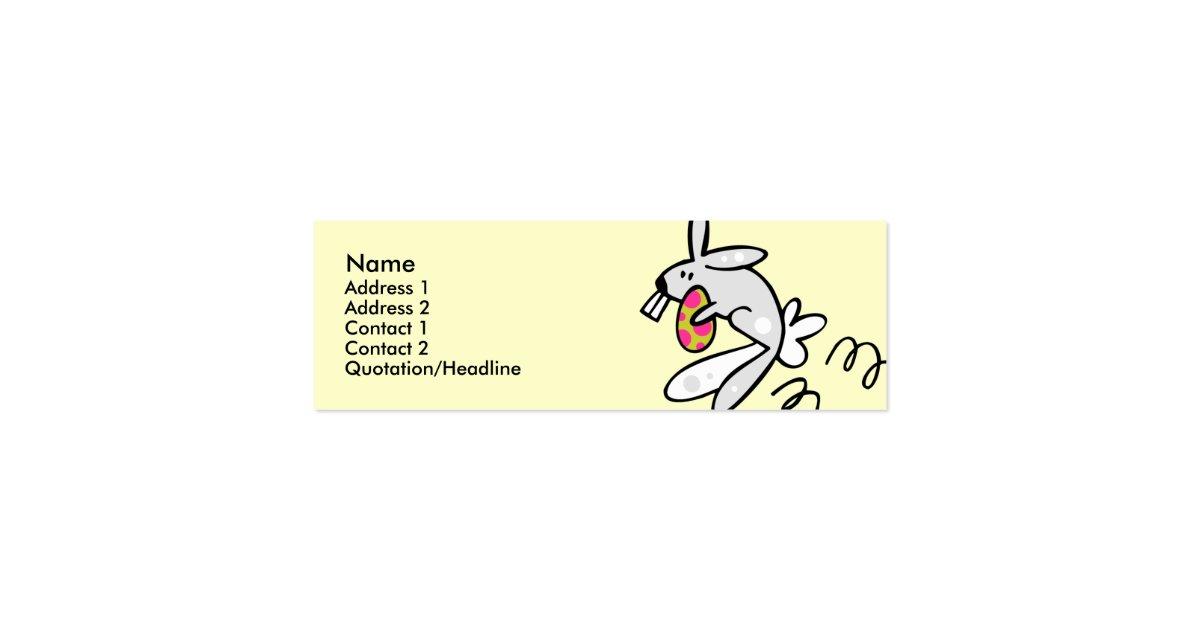 Skinny profile template easter bunny mini business card for Mini business cards template