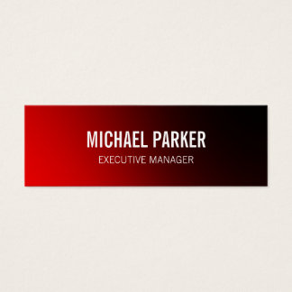 Skinny Red Bold Text Stylish Professional Mini Business Card