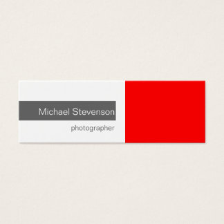 Skinny Red Grey White Photography Business Card