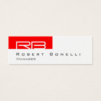 Skinny Red White Monogram Manager Business Card
