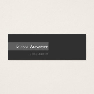 Skinny Simple Plain Grey Photography Business Card