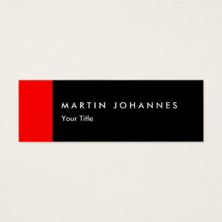 Skinny slim black red professional business card