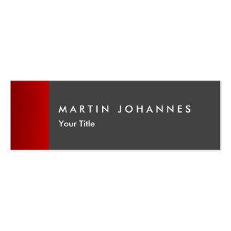 Skinny slim grey red professional business card