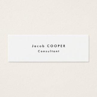 Skinny Slim Simple Plain Modern White Professional Mini Business Card