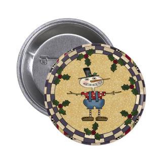 Skinny Snowman Christmas Button