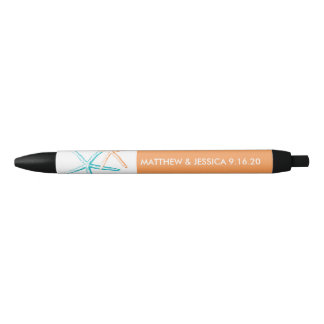 Skinny Starfish   Caribbean Blue and Orange Black Ink Pen