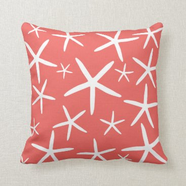 Beach Themed Skinny Starfish | Coral and White Throw Pillow