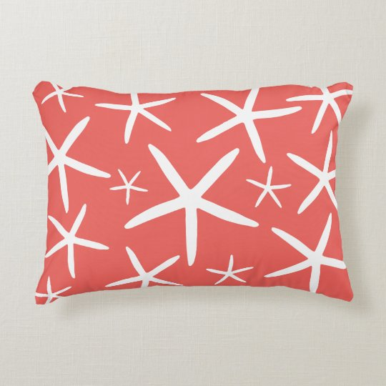 Skinny Starfish Coral Decorative Pillow Zazzle Interesting Long Skinny Decorative Pillows