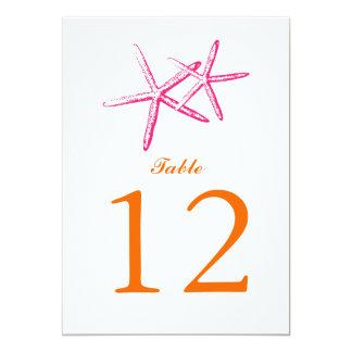 "Skinny Starfish   Table Number 5"" X 7"" Invitation Card"