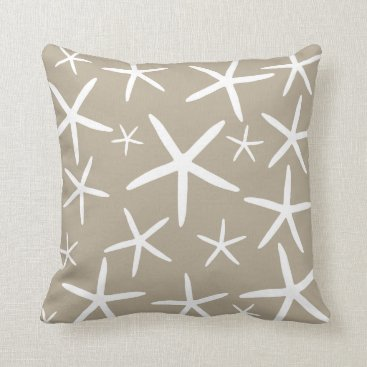 Beach Themed Skinny Starfish | Tan Sand Throw Pillow