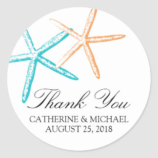 Skinny Starfish Wedding Classic Round Sticker