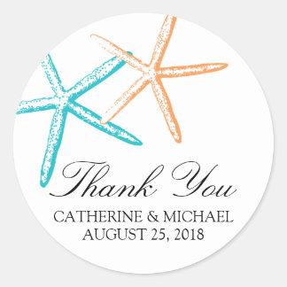 Skinny Starfish Wedding Classic Round Sticker