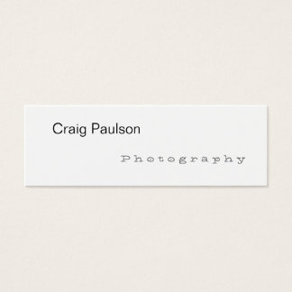 Skinny Trendy White Photography Business Card