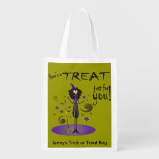Skinny Whimsical Halloween Witch Illustration Reusable Grocery Bag