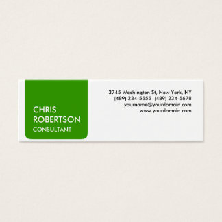 Skinny White Green Stripe Attractive Business Card