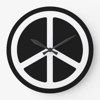 Skinny White Peace Sign on Black Wall Clock