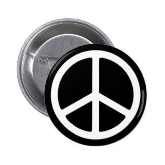 Skinny White Peace Symbol Button
