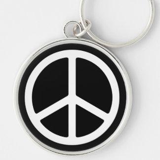 Skinny White Peace Symbol Keychain