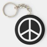 Skinny White Peace Symbol Basic Round Button Keychain