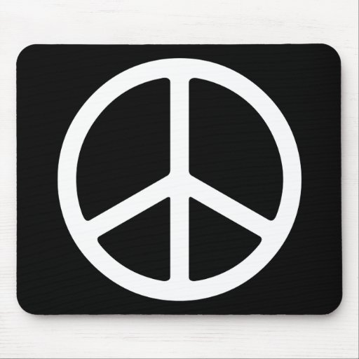 Skinny White Peace Symbol Mouse Pad