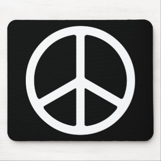 Skinny White Peace Symbol Mousepads