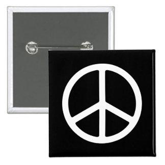 Skinny White Peace Symbol Pinback Button