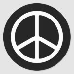 Skinny White Peace Symbol Round Sticker
