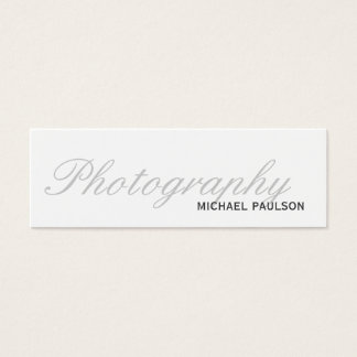 Skinny White Script Photography Business Card
