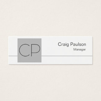 Skinny White Silver Grey Monogram Business Card