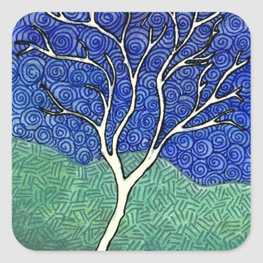 Skinny White Tree with Swirly Sky Square Sticker
