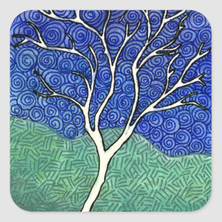 Skinny White Tree with Swirly Sky Square Stickers